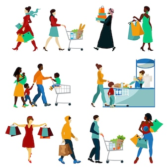 Shopping people icons set