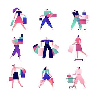 ショッピングの人々。ショッピングバッグやカートを持っている男性と女性は店でたくさんの買い物をします