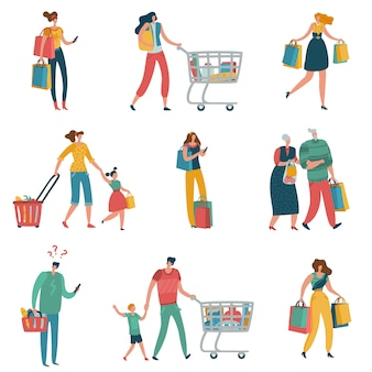 Shopping people. persons shop family basket cart consume retail purchase store shopaholic mall supermarket shopper flat