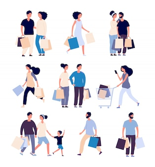 Shopping people set. man and woman with shopping card buying product in grocery store.  shopper cartoon  characters set