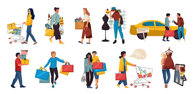 쇼핑하는 사람. 쇼핑몰 쇼핑 또는 소매점에서 유행하는 가족 및 커플 만화 캐릭터. 벡터 일러스트 쇼핑몰 장면