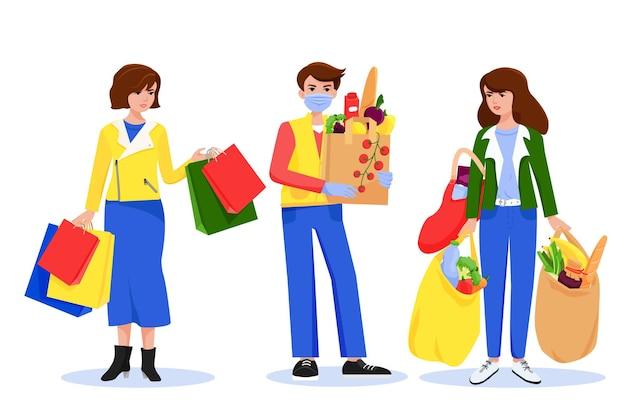 Покупка. люди с тяжелыми бумажными пакетами из продуктового магазина. векторные персонажи, плоский стиль.