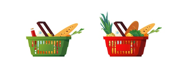 Shopping plastic basket with groceries