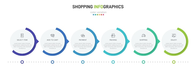 Shopping process with 6 successive timeline steps. six colorful infographic elements