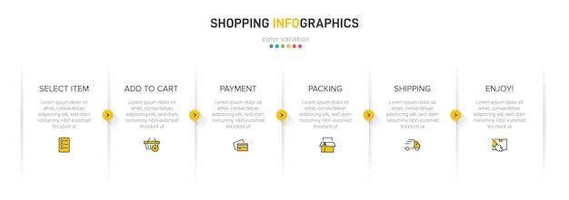 Процесс покупки с 6 последовательными шагами шкалы времени. шесть красочных инфографических элементов