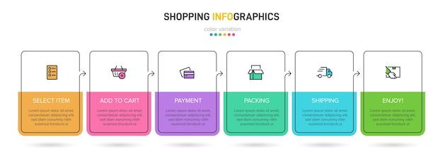 연속적인 타임 라인 단계가있는 쇼핑 프로세스. 6 개의 다채로운 infographic 요소