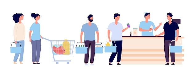 ショッピングキュー。並んで待っている買い物カードを持っている人は、カウンターの食料品店で商品を購入します。買い物客の群衆漫画ベクトルセット。イラストキューショップ、スーパーマーケットの顧客、レジ係