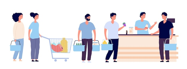 Shopping queue. people with shopping card waiting in line buy product in grocery store at counter. shopper crowd cartoon vector set. illustration queue shop, supermarket customer and cashier