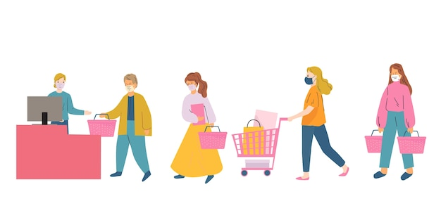 Shopping queue. seasonal sale during black friday