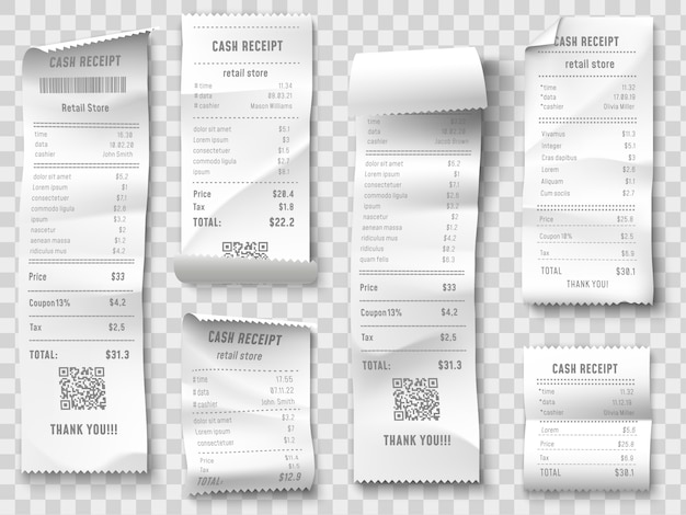 Shopping receipt, retail store purchase receipts, supermarket invoice printing and purchasing bill isolated  collection