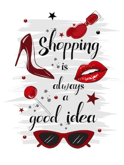 Shopping red fashion card