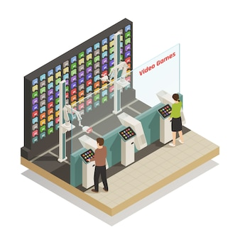 Shopping robotic technologies isometric composition