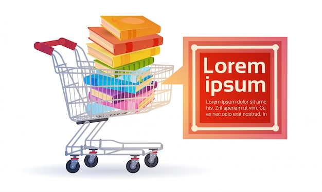 Shopping sale books stack education concept