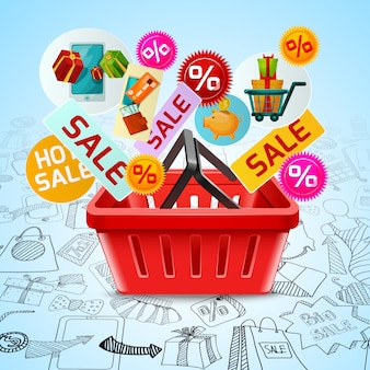쇼핑 및 판매 개념