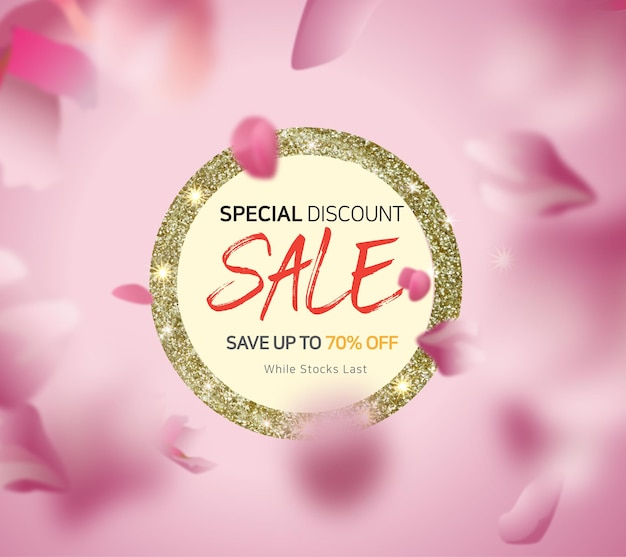 Shopping sale design with watercolor gold color
