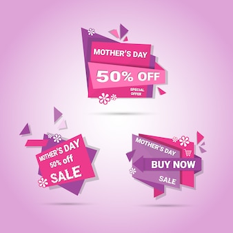 Shopping sale happy mother day discount sticker set, spring holiday greeting card banner