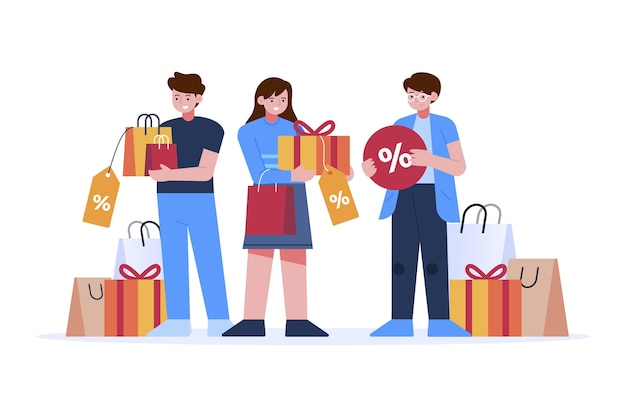 Shopping sales flat hand drawn design