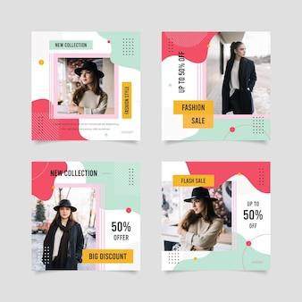 쇼핑 판매 소셜 미디어 게시물 팩