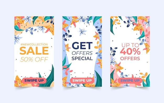 Set di storie sui social media di vendita dello shopping