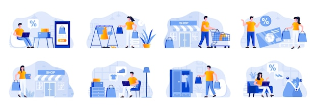 Shopping scenes bundle with people characters. shopper carry shopping bags, online order and delivery at home, internet discount marketplace situations. shopping people flat illustration.