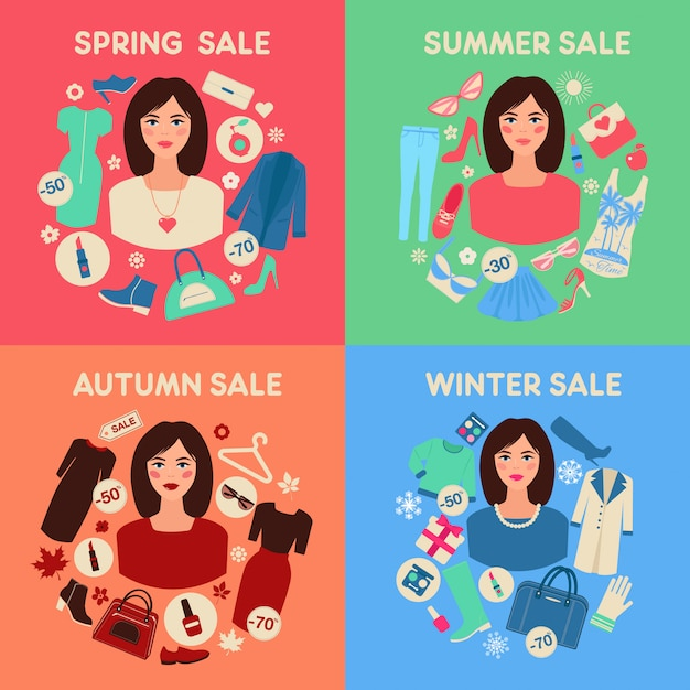 Shopping seasonal sale set in flat design with woman