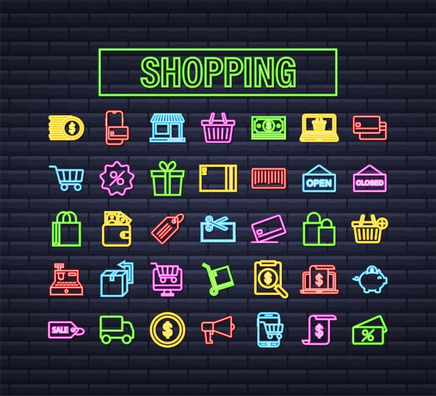 Shopping set neon icon for web design. e commerce. discount coupon. business icon. price tag. line vector. vector stock illustration.