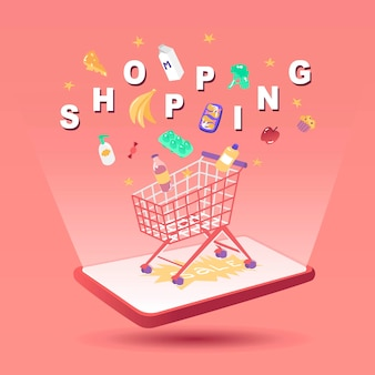 Shopping set with products and letters vector illustration online market delivery buy purchase