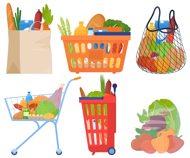 Shopping sets, in baskets, packages, trolleys, vegetables, meat, sausages, bread, milk, oil.
