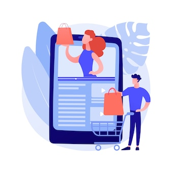Shopping sprees video abstract concept illustration