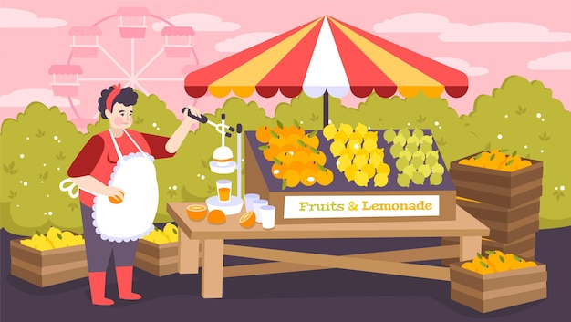 카운터에 과일과 레모네이드가 있는 도시 놀이 공원의 쇼핑 가판대
