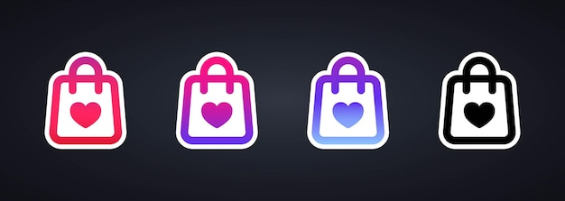 Shopping sticker icon set or support small local business