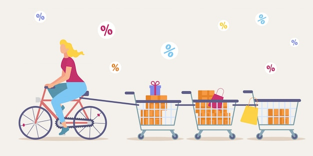 Shopping on store big sale flat vector concept