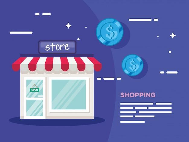 Shopping store facade with coins