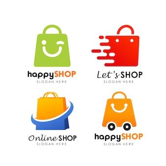 ショッピングショップのロゴデザインベクトル