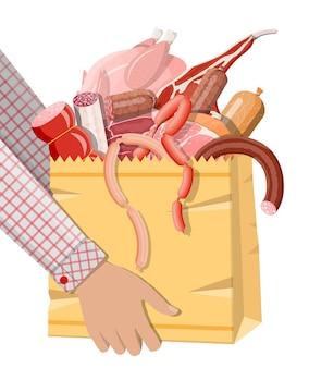 고기로 가득 찬 쇼핑 슈퍼마켓 가방. 찹, 소시지, 베이컨, 햄. 마블링된 소고기. 정육점, 스테이크 하우스, 농장 유기농 제품. 식료품 음식입니다. 신선한 돼지고기 스테이크. 벡터 일러스트 레이 션 평면 스타일