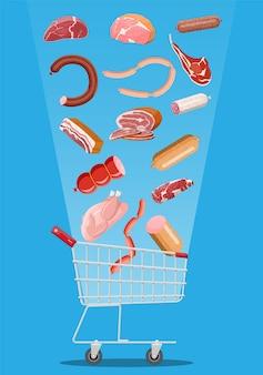 Корзина супермаркета для покупок, полная мяса. котлета, сосиски, бекон, ветчина. мясная мраморная говядина. мясной магазин, стейк-хаус, органические фермерские продукты. продовольственная еда. стейк из свежей свинины. векторная иллюстрация плоский стиль