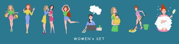 Шоппинг, селфи, принятие ванны, разговор с двумя подругами, танцы, работа на ноутбуке, мама с ребенком на слинге, мытье полов шваброй, векторный набор