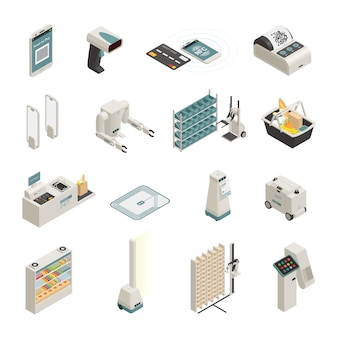 Shopping technologies isometric icons set