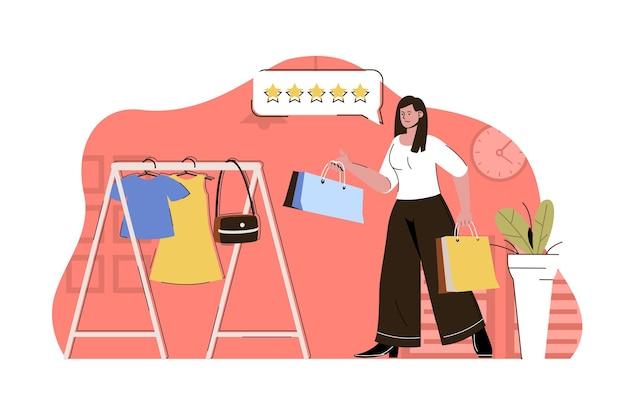 Концепция времени покупок женщина покупает одежду в бутике
