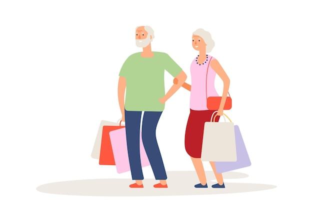 쇼핑 시간. 노부부 구매, 가방을 든 고객. 할머니와 할아버지의 활동적인 삶
