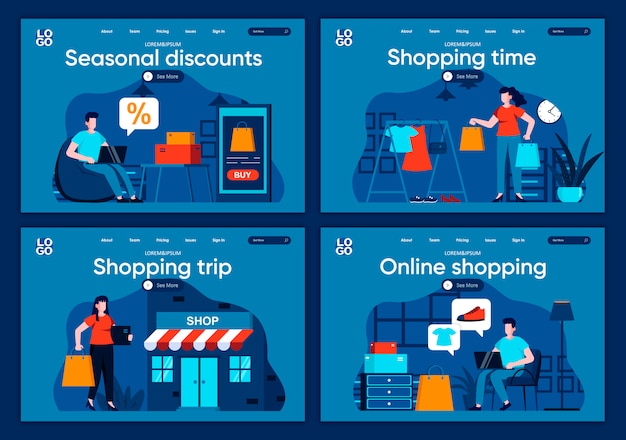 Shopping time flat landing pages set. internet discount marketplace, online order and delivery at home scenes for website or cms web page. seasonal discounts and online shopping illustration.