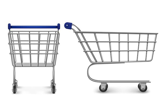 쇼핑 트롤리 다시 및 측면보기, 흰색 배경에 고립 된 빈 슈퍼마켓 카트. 소매점, 식료품 점 및 상점 시장에서 구매하기위한 고객 장비. 현실적인 3d 그림
