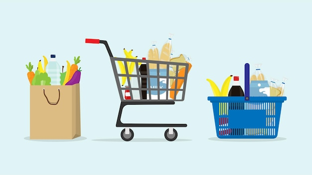 Shopping trolley bag and basket cart supermarket grocery