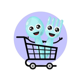 Shopping trolley cutlery mascot character logo