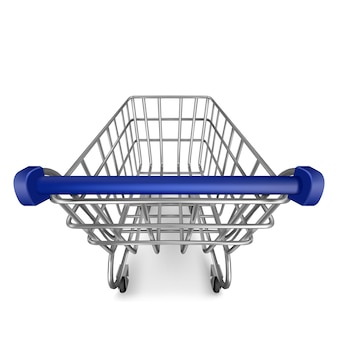 Shopping trolley, empty supermarket cart view from the first person isolated on white