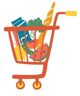 ショッピングカートのフルフードミール。完全なショッピングカート。食料品店、スーパーマーケット。デパートグッズ。新鮮で健康的で自然な製品のセット。食料品の配達。ベクトルイラスト