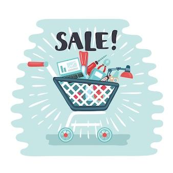 Тележка для покупок, полная электронных товаров и спорта