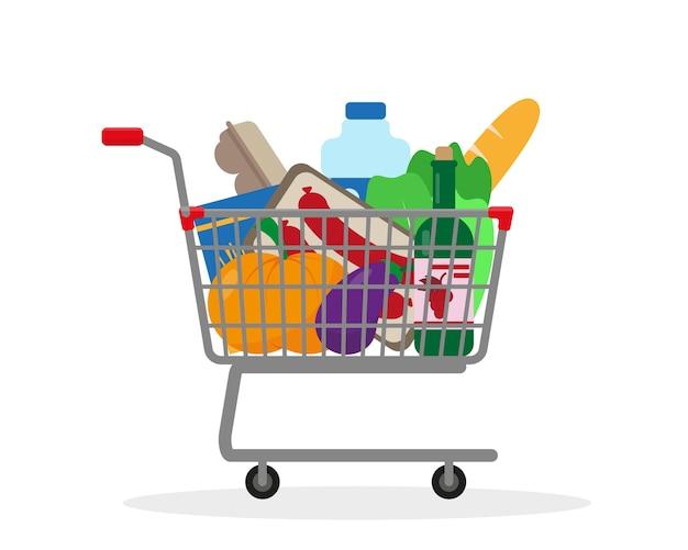 白い背景で隔離の食品でいっぱいのショッピングトロリー
