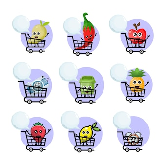 Shopping trolley variations mascot