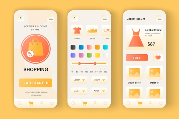 Shopping unique neomorphic  kit. app for clothing store with purchase search, color selection, discount percentage. internet market ui, ux template set. gui for responsive mobile application.